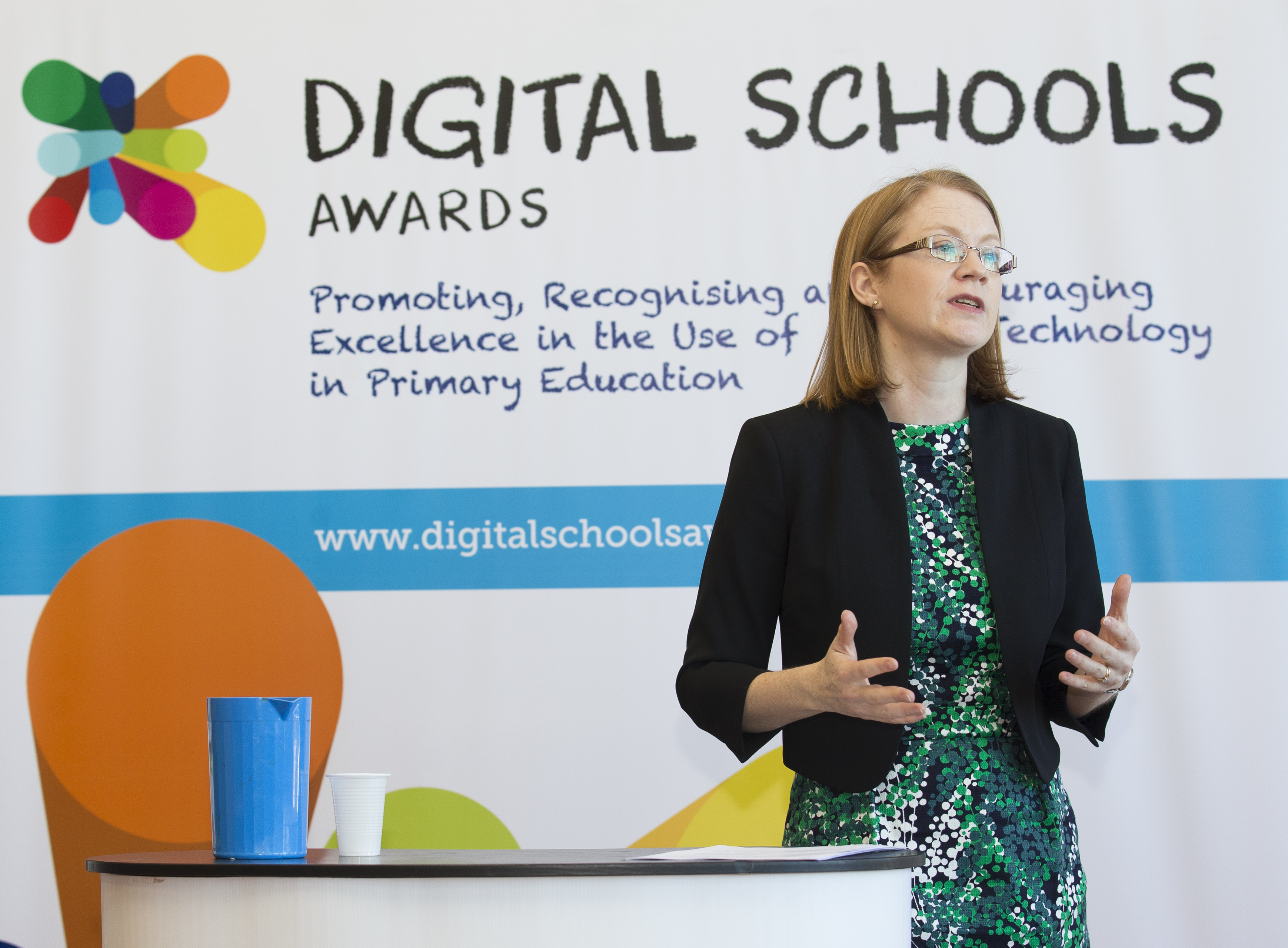 Minister for Further Education, Higher Education and Science, Shirley-Anne  Somerville speaking at Digital Schools Awards ceremony at Wormit Primary  School ...